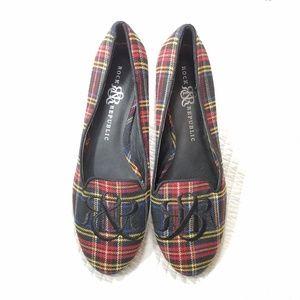 NWOT Rock & Republic tartan plaid loafers size 9 m